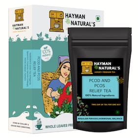 HAYMAN NATURAL'S PCOD and PCOS Relief Tea ( - 56 Cups) with Ayurvedic Herbs and Multivitamins for Regular Periods, Hormonal Balance and Weight Management-100g