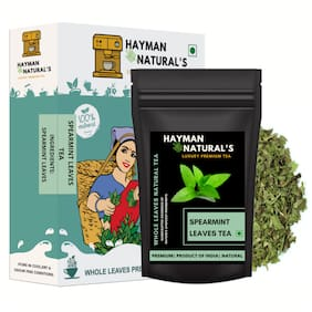 HAYMAN NATURAL'S Spearmint Leaves Herbal Tea (50g - 41 Cups) for PCOD and PCOS - Cure Facial Hair and Acne Due to Hormonal Imbalance-50g