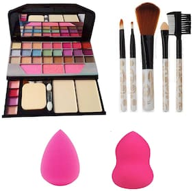 HBO Super Colors Makeup Kit + 5pc Makup Brush + 2 Blender Sponge Puff Combo Set