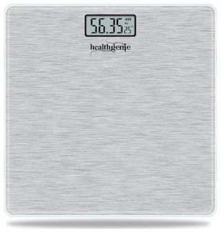 Healthgenie Electronic Digital Weighing Machine Bathroom Personal Weighing Scale - Silver Brushed Metallic;Max Weight : 180 kgs.