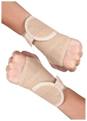 Healthgenie Wrist Brace with Thumb Support (Beige) - 1 Pair