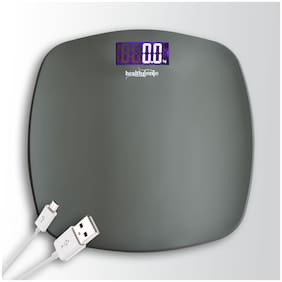 Healthgenie Rechargeable Digital Personal Weighing Scale With Step On Technology and USB- Fibre (Grey)