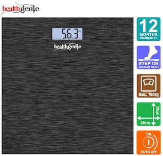 Healthgenie Rechargeable Digital Personal Weighing Scale for Human Body with Room Temperature Display -   Dark Grey