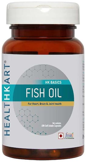 HealthKart Fish oil (1000 Omega 3 with 180 mg EPA & 120 mg DHA) for brain heart and eye health 60 softgels