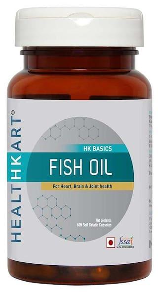 HealthKart Fish oil (1000 Omega 3 with 180 mg EPA & 120 mg DHA) for brain heart and eye health 60 softgels