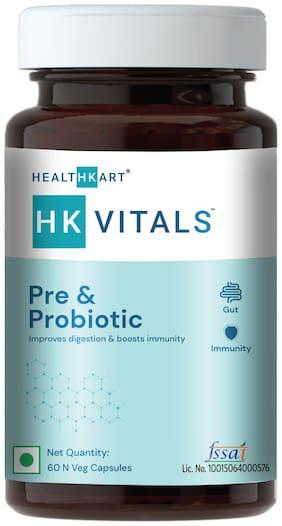 HealthKart HK Vitals Pre & Probiotics, Probiotic Supplement for Men and Women, with 30 Billion CFU & 100mg Prebiotics, Improves Digestion & Immunity, 60 Probiotic Capsules
