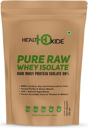HealthOxide Pure Raw Whey Protein Isolate 90% (Raw & Unflavored / 27 G Protein per Serving)  250 Gm