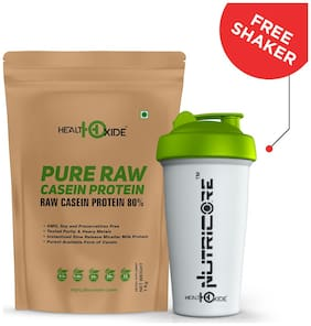 HealthOxide Pure Raw Micellar Casein Protein 80% (Raw & Unflavored / 24 G Protein Per Serving) - 1 kg - with Free Shaker