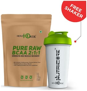 HealthOxide Pure Raw BCAA 100% Powder Pre/Post Workout Supplement - 250 Gms - With Free Shaker