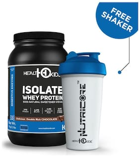 Healthoxide Whey Protein Isolate 1 Kg, 2.2 Lbs (Delicious Double Rich Chocolate)+1 Free Shaker