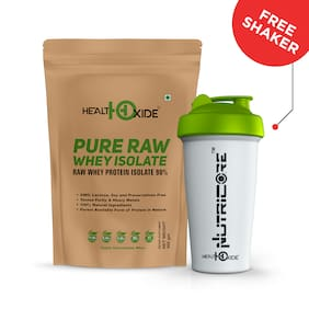 HealthOxide Whey Protein Isolate (Raw & Unflavored / 27 G Protein per Serving)  500 Gm - with Free Shaker