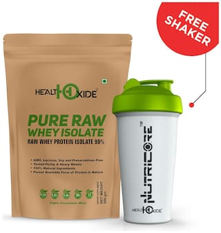 HealthOxide Whey Protein Isolate (Raw & Unflavored / 27 G Protein per Serving)  500 g - with Free Shaker