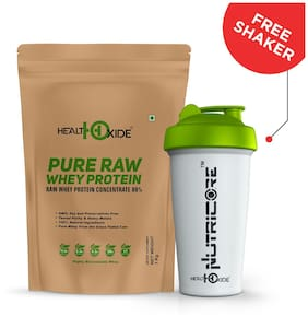 HealthOxide Pure Raw Whey Protein 80% (Raw & Unflavored / 24 G Protein per Serving) - 1 kg with free shaker