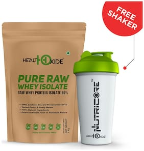 HealthOxide Whey Protein Isolate (Raw & Unflavored / 27 G Protein per Serving)  1 Kg with free shaker