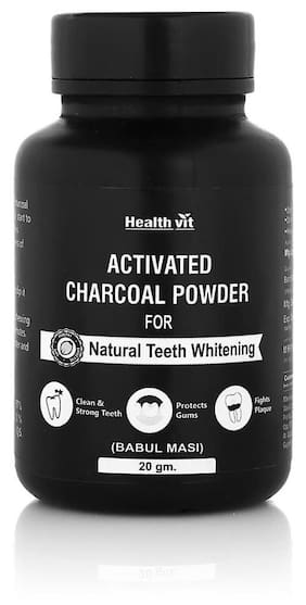 HealthVit Activated Charcoal Powder For Natural Teeth Whitening - 20 gm