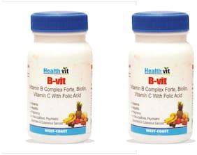 HealthVit B-VIT Vitamin B complex with bioton Vitmain C and Folic acid (Pack of 2)