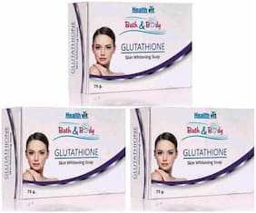 HealthVit Bath & Body Glutathione Skin Whitening Soap 75 g (Pack of 3)
