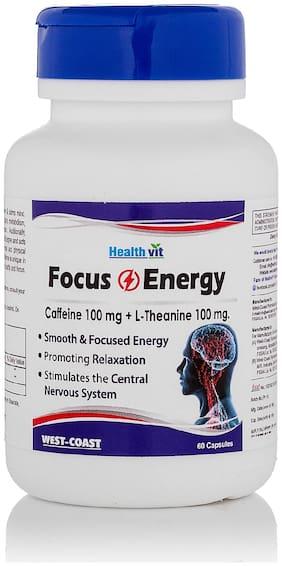 HealthVit Focus & Energy Caffeine 100 mg + L-Theanine 100 mg 60 Capsules