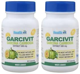 HealthVit Garcivit Pure Garcinia Cambogia Supplements 500 mg - 60 Capsules (Pack of 2)