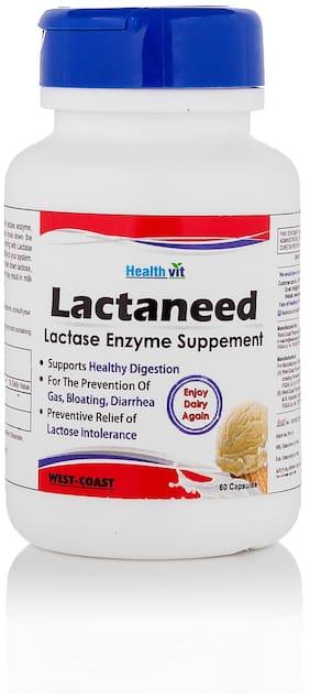 HealthVit Lactaneed Lactase Enzyme Supplement 300 mg 60 Capsules For Lactose Intolerance