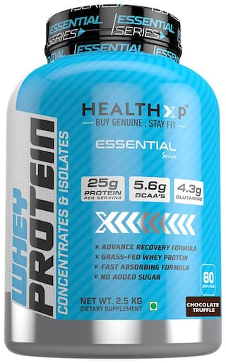 HealthXP Essential Series 100% Whey Protein 2.5Kg Chocolate Truffle (Pack Of 1)