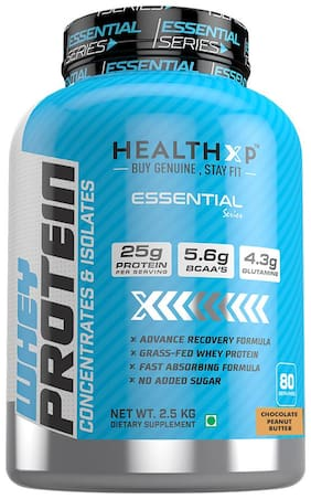 HealthXP Essential Series 100% Whey Protein 2.5Kg Chocolate Peanut butter (Pack Of 1)