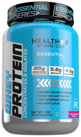 HealthXP Essential Series 100% Whey Protein 1Kg - Strawberry Cream