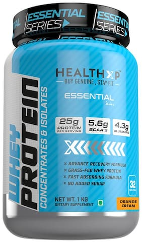 HealthXP Essential Series 100% Whey Protein Orange Cream 1 kg (Pack Of 1)