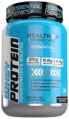 HealthXP Essential Series 100% Whey Protein Chocolate Truffle 1 kg (Pack Of 1)