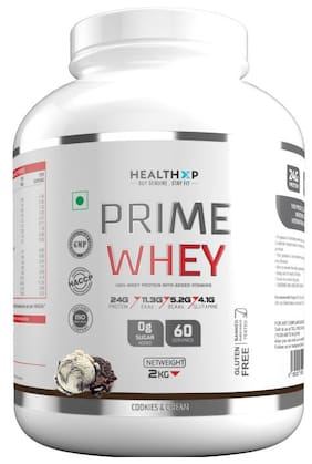 HealthXP Prime Whey 2Kg ( 4.4Lbs ),  Whey Protein With Added Vitamins Cookies & Cream