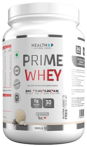 HealthXP Prime Whey 1Kg ( 2.2Lbs ),  Whey Protein With Added Vitamins Vanilla Delight