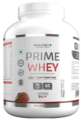 HealthXP Prime Whey 2Kg ( 4.4Lbs ),  Whey Protein With Added Vitamins Rich Chocolate