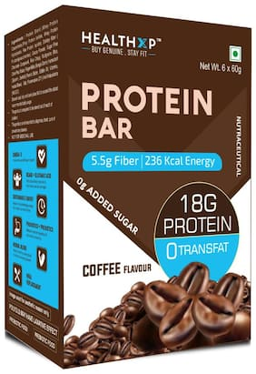 HealthXP Protein Bars ( 18 g Protein ) Pack of 6 ( 60g x 6 ) Coffee