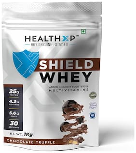 HealthXP Shield Whey Chocolate Truffle 1 kg (Pack Of 1)