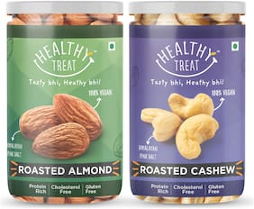Healthy Treat Premium Roasted Almond 200g And Cashew 200g Combo Himalayan Salted (Pack Of 2)