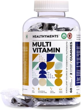Healthyments Multivitamin Gummies 15 essential vitamins and minerals Vegan For Men,Women,Adult Strawberry Flavor 60 Tablets (Pack of 1)