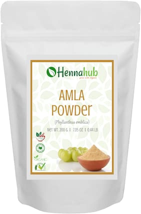 HENNAHUB Natural Amla Powder for Hair (Indiangoosebery Powder) , Natural Organic Leaves Herbs, Hair Strengthening, Shine, Conditioning, 200g