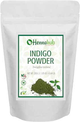 HENNAHUB Natural Indigo Powder for Hair, Natural Organic Leaves Herbs, Hair Strengthening, Conditioning