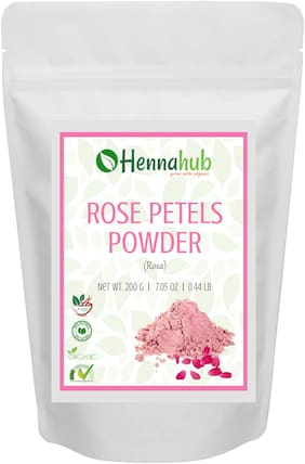 HENNAHUB Pure Herbal Organic Rose Petals Powder for Face Mask, Skin Care, Deep Pore Cleansing, Natural Glowing Skin Face Pack- 200g