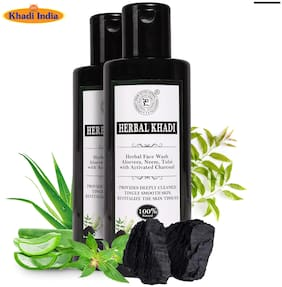 Herbal Khadi Activated Charcoal (No Sulphates & Parabens) Natural Face Wash Deep Detoxifier Oil Control Anti Pollutant Pores Cleanser 210 ml ( Pack of 2 )