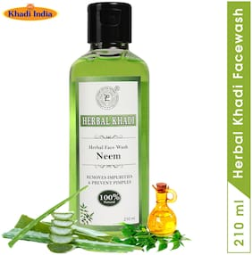 Herbal Khadi Neem & Tea Tree Natural face Wash For Purifying Oily Skin Impurities & Anti Acne - AloeVera & TEA TREE Oil Extract 210 ml ( Pack of 1 )