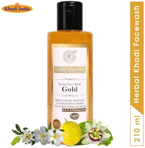Herbal Khadi Gold (No Sulphates & Parabens) 100% Natural Collagen Face Wash For Wrinkle Free Brightening Glowing Skin 210 ml ( Pack of 1 )