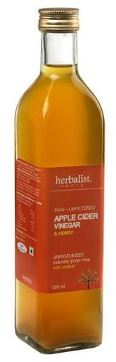 Herbalist Apple Cider Vinegar - With Honey Raw Unprocessed & Unrefined With Mother 500 ml
