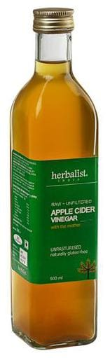 Herbalist Apple Cider Vinegar - Raw Unprocessed Unrefined With Mother 500 ml