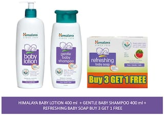 Himalaya Baby Combo Pack (Buy 3 Get 1 Baby Soap Free, 1 Baby Shampoo and 1 Baby Lotion) (Pack of 5)