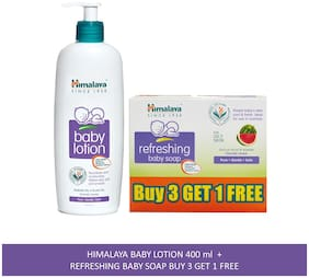 Himalaya Baby Combo Pack (Buy 3 Get 1 Baby Soap Free and 1 Baby Lotion) (Pack of 4)