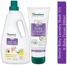 Himalaya Baby Gentle Laundry Wash (1L;Bottle) & Himalaya Baby Cream (200ml)- Pack of 2