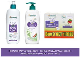 Himalaya Baby Combo Pack Buy 3 Get 1 Baby Soap Free, 1 Baby Lotion and 1 Baby Wash) (Pack of 5)