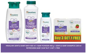 Himalaya Baby Combo Pack (Buy 3 Get 1 Baby Soap Free, 1 Baby Powder, 1 Baby Shampoo and 1 Baby Bath) (Pack of 6)