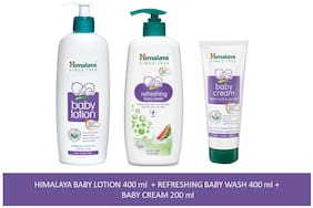 Himalaya Baby Combo Pack (1 Baby Lotion, 1 Baby Cream and 1 Baby Wash) Pack of 3